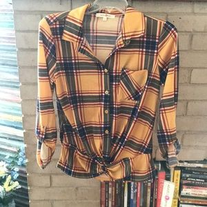 NWT Yellow Flannel Button Up